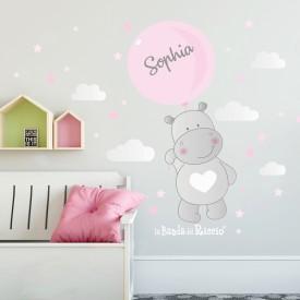 """Adesivi cameretta """"Hippo Balloons"""" Ippopotamo volante con palloncino -foto ambientata n.1- personalizzabile con nome"""