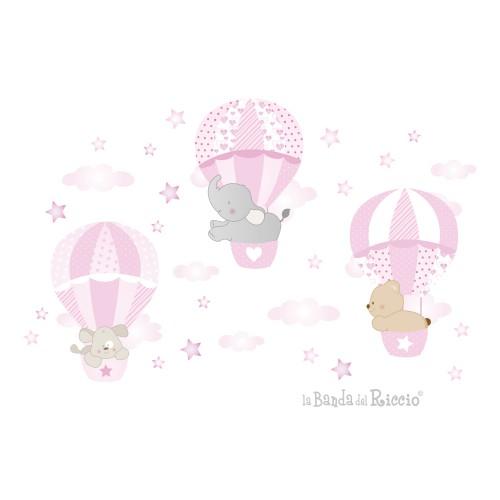 """Adesivi murali per cameretta """"Le Mongolfiere 3"""" - colore rosa -"""