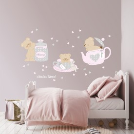 Stickers murali Tea Time -colazione con gli orsetti  foto ambientata- colore grigio-rosa