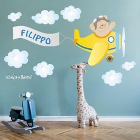 """Immagine degli adesivi murali """"L'Aeroplano"""""""