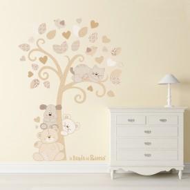 """Adesivi murali albero """"Albero dei Cuccioli"""" simpatici cuccioli si incontrano sotto un albero -foto ambientata1-"""