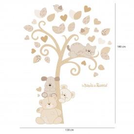 """Adesivi murali albero """"Albero dei Cuccioli"""" simpatici cuccioli si incontrano sotto un albero - misure"""