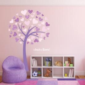 Esempio di variante di colore viola dell'albero adesivo da parete.