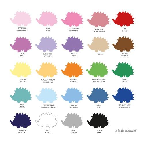Cartella colori. Seleziona il colore della tua creazione e scrivilo a fianco