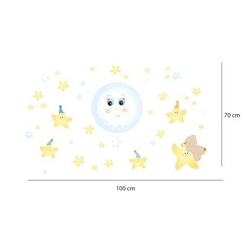 """Adesivi fluorescenti bambini """"Dolce Luna Fluo"""" teneri personaggi luna piena e stelline- Le Misure-"""