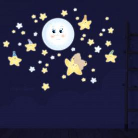 Adesivo murale fluorescente al buio. Luna e stelle illuminati.