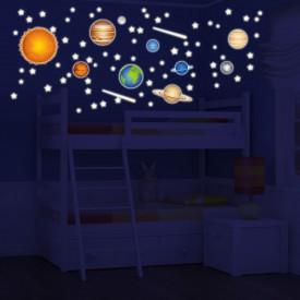 """Stickers fluo """"Il Sistema Solare"""" pianeti del nostro sistema solare -foto ambientata n.2 effetto notte-"""