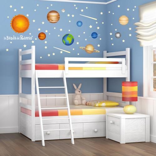 """Stickers fluo """"Il Sistema Solare"""" pianeti del nostro sistema solare -foto ambientata n. 1-"""