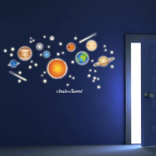 """Stickers fluo """"Il Sistema Solare"""" pianeti del nostro sistema solare -foto ambientata n.3 effetto notte-"""