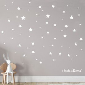 """Adesivi murali fluorescenti """"Stelline Bianche Fluo"""" un cielo stellato illumina il suo dolce sonno -foto ambientata n.1-"""