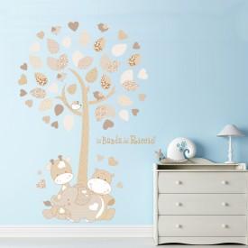 """Wall stickers per bambini """"Albero di Tino"""" dolce elefantino con giraffa e ippopotamo"""
