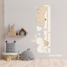 """Wall stickers metro crescita """"Amore e Tenerezza"""" orsetto coniglietto e cuoricini -foto ambientata1-"""