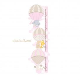 """Metro bambini per misurare la crescita """"Le Mongolfiere 1"""" -beige rosa-"""