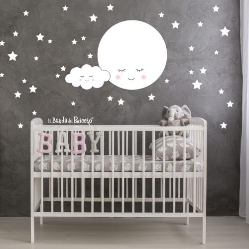 """Stickers murali bambini """"La Luna Sognante"""" -foto ambientata n. 2-"""