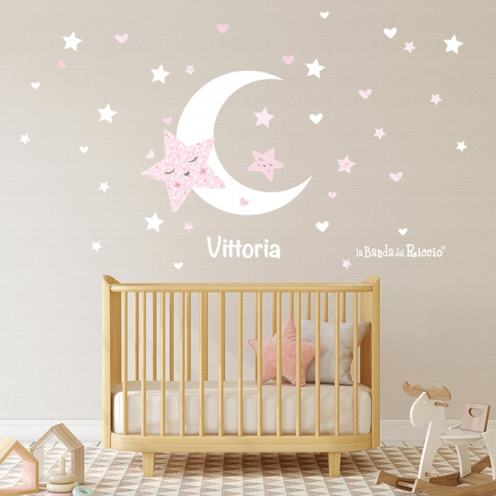 "Adesivi murali bambini ""Stelle e Luna"" -foto ambientata n.1-"