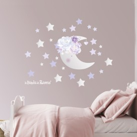 "Wall stickers ""La Luna Viola"" -foto ambientata-"