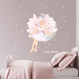 """Adesivi murali bambina """"La Fata della Luna"""" -foto ambientata n. 1-"""