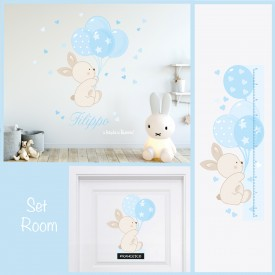"Stickers murali bambini ""Set Room Bunny Balloon"" -foto ambientata n.1-"