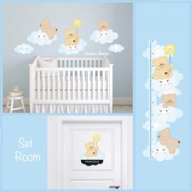 """Stickers cameretta bambini """"Set Room Orsetti sulle Nuvole"""" -foto ambientata-"""