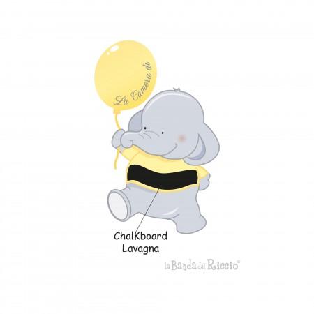 Variante gialla dell'adesivo murale per bambini con un elefante e un palloncino.