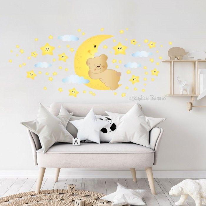 """Adesivi murali fluorescenti """"Orsetto sulla Luna"""", foto ambientata"""