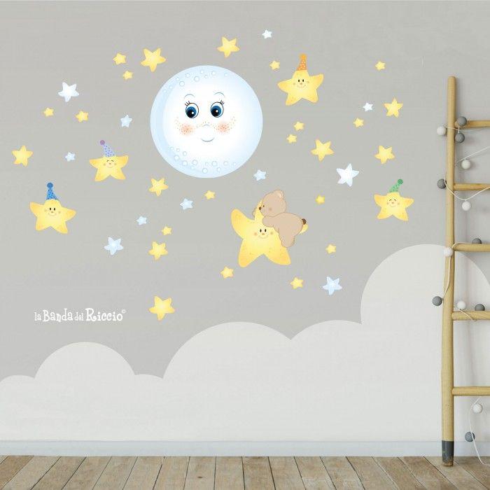 Immagine dell'adesivo fluorescente Dolce Luna Fluo. Una luna e tante stelle.