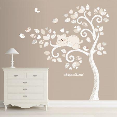 """Foto dell'adesivo murale """"Albero vento con gatto e uccellini"""""""