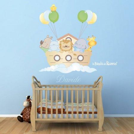 Animaletti con palloncini sull'Arca di Noè. Immagine dell'adesivo murale.