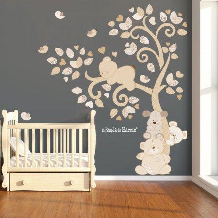 """Adesivi murali alberi """"Albero Cuccioli nel vento""""  teneri cuccioli abitano sull'albero -foto ambientata n.2-"""