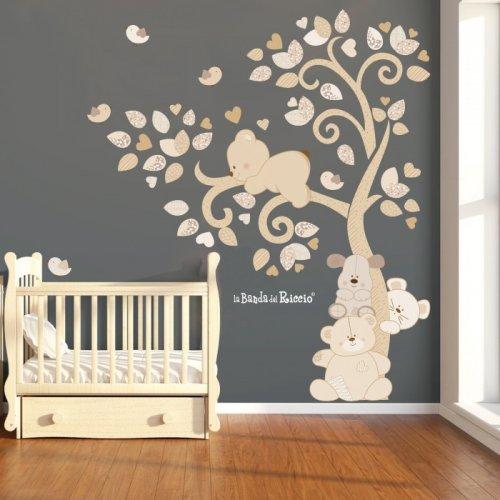 """Adesivi murali """"Albero Cuccioli nel vento""""  dei teneri cuccioli sull'albero"""