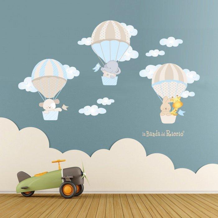 Le Mongolfiere - Stickers beige per la cameretta dei bambini. Foto ambientata
