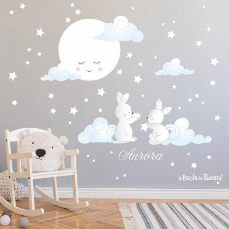 Adesivi murali Moonlight - immagini di coniglietti sulle nuvole con luna sognante e stelline