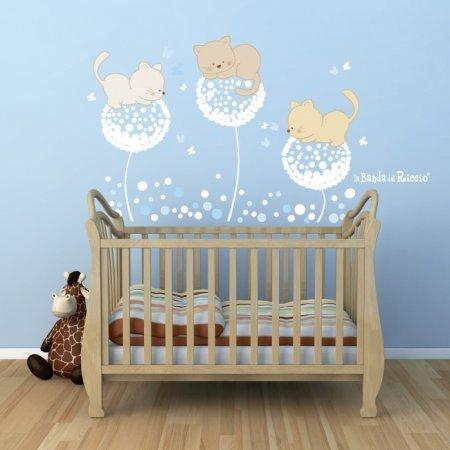 """Adesivi murali """"soffioni"""" - tre stickers raffiguranti orsetti appoggiati sui soffioni"""