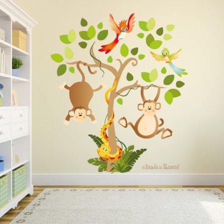 Immagine ambientata dell'albero safari adesivo. Simpatici animaletti della savana.