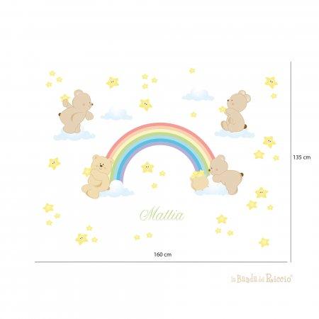 Immagine esplicativa delle misure degli stickers arcobaleno con i dettagli