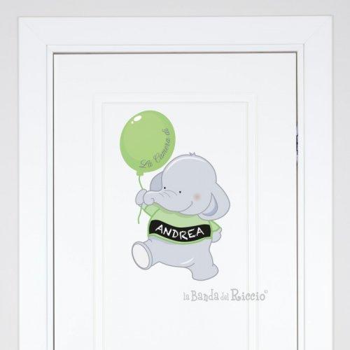 """Adesivo per la porta della cameretta """"Elefante con Palloncino"""""""