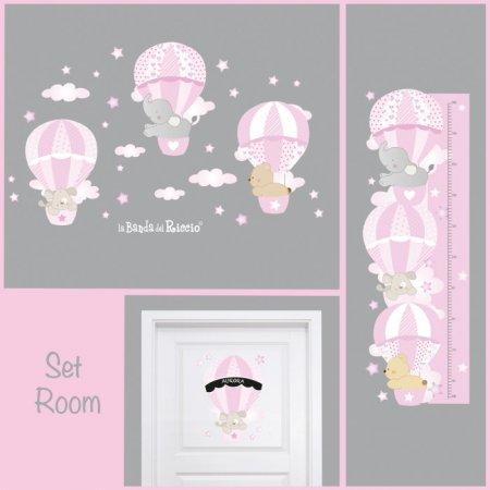"""Set Room di adesivi murali """"Mongolfiere 3"""".  Tanti adesivi per la cameretta del bambino."""