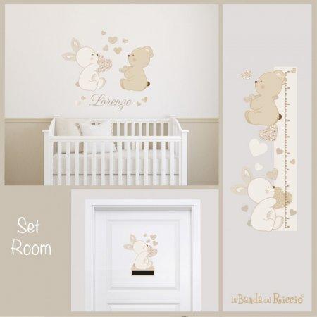 Immagine del set room di adesivi murali amore e tenerezza