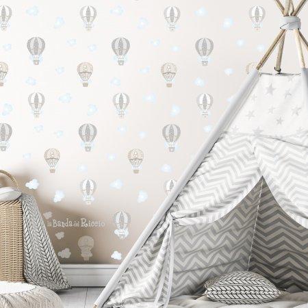 Pattern per la cameretta Le Mongolfiere 2; colore grigio/beige