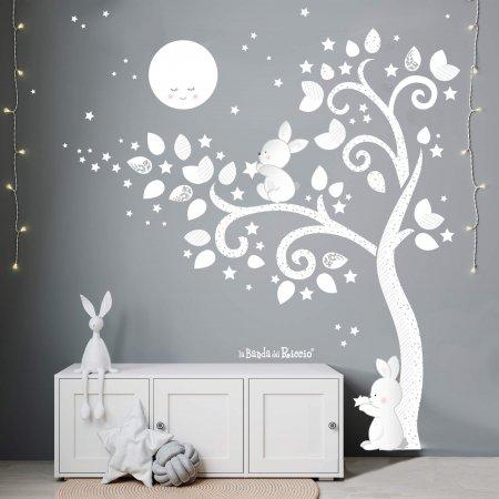 """Adesivo murale """"Albero Moonlight"""" un albero illuminato dalla luce della luna"""