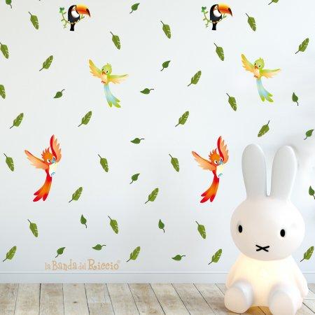 """Pattern """"il Safari"""" per creare un effetto carta da parati con piccoli adesivi murali raffiguranti foglie e uccellini foto"""