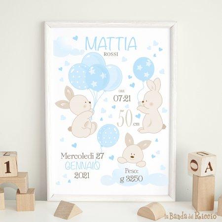 quadretto nascita bunny ballons tre dolci coniglietti accompagnati dal nome, data misura e peso del tuo bambino. Colore azzurro